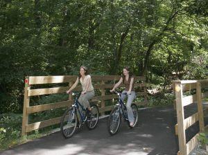 Indiana, Winona Lake, Lake City Greenway, bike trail, bicycle, mother, teen daughter, bridge,