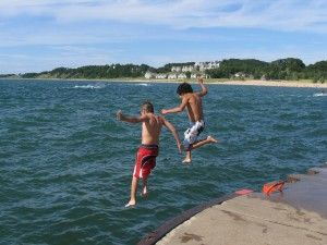 Jumping in Lake Michigan