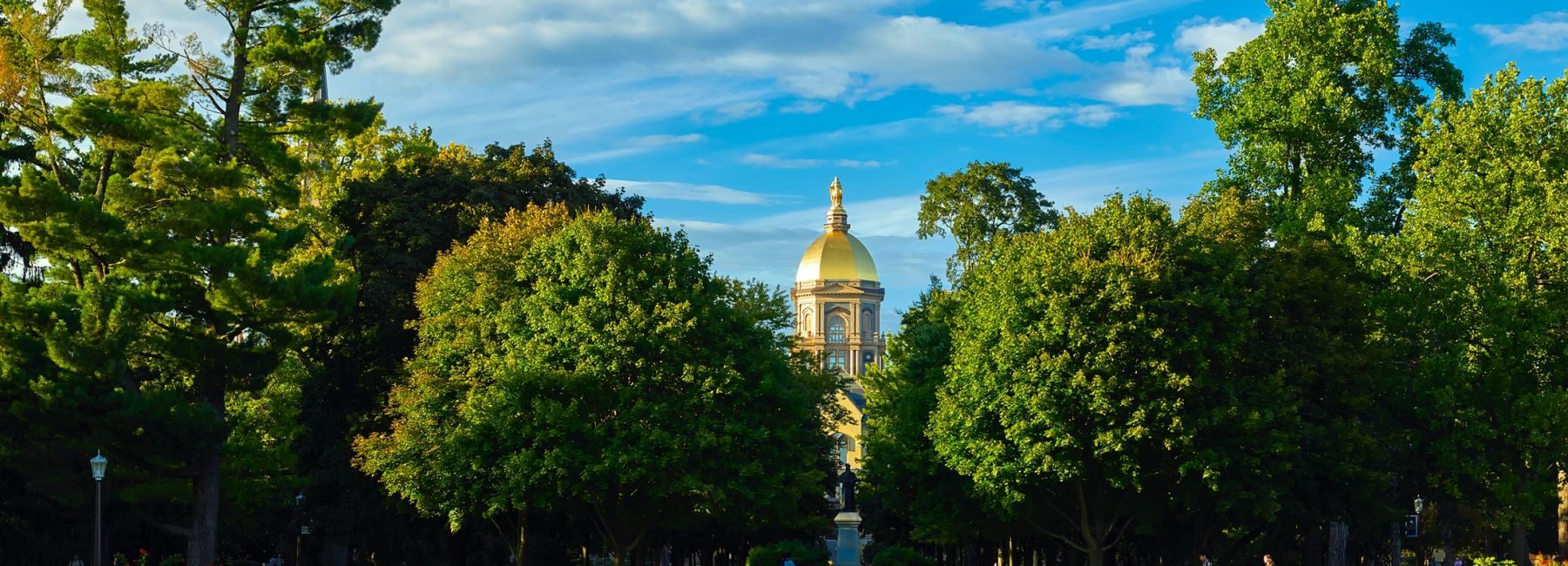 The grounds and Golden Dome of the University of Notre Dame.