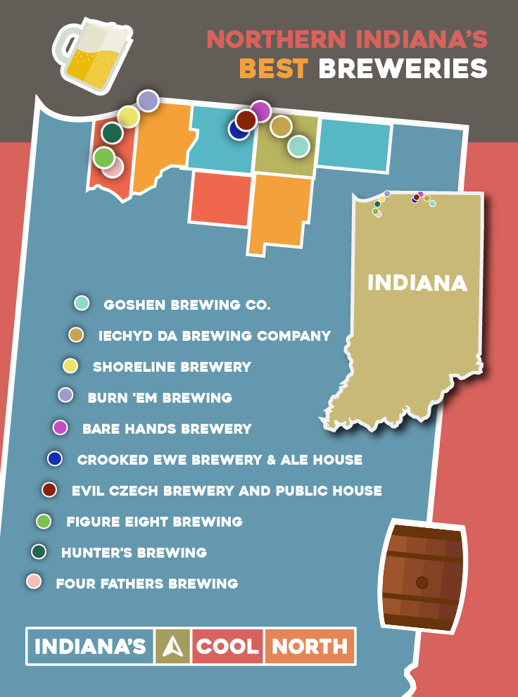 An illustrated map showing the locations of breweries in Northern Indiana.