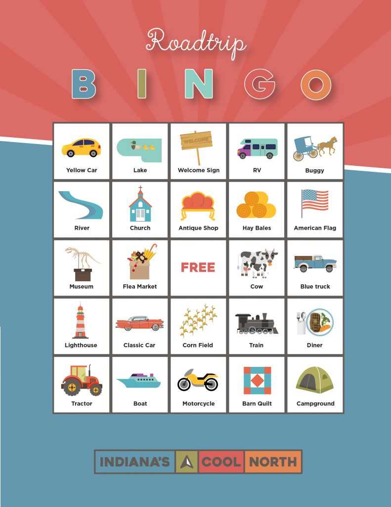 An illustrated bingo card