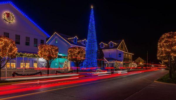 Christmas Lights decorating downtown Shipshewana, Indiana.