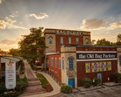 A photo of the Old Bag Factory at sunset.